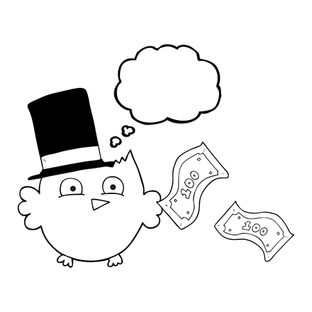 wealthy: freehand drawn thought bubble cartoon wealthy little owl with top hat
