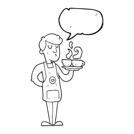 barista: freehand drawn speech bubble cartoon barista serving coffee Illustration