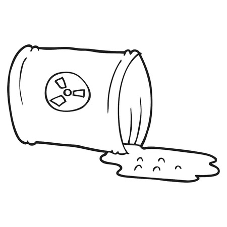 nuclear waste: freehand drawn black and white cartoon nuclear waste Illustration
