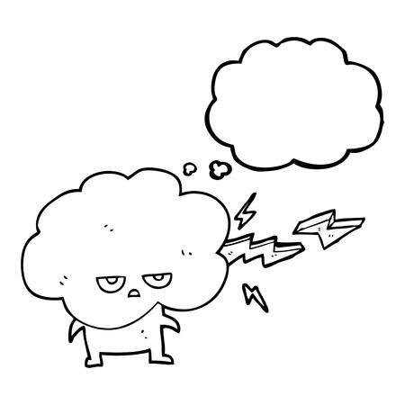 stormcloud: freehand drawn thought bubble cartoon raincloud character shooting lightning