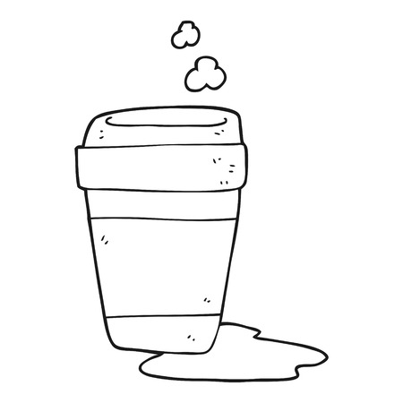 coffee spill: freehand drawn black and white cartoon coffee cup