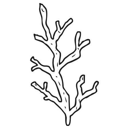 freehand drawn black and white cartoon seaweed Ilustração Vetorial