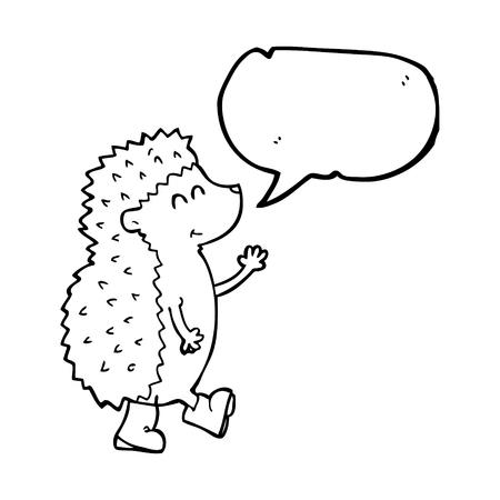 cartoon hedgehog: cute freehand drawn speech bubble cartoon hedgehog