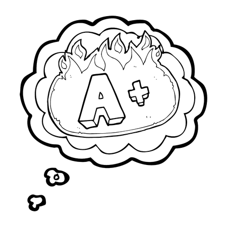 Freehand Drawn Thought Bubble Cartoon A Grade Symbol Royalty Free
