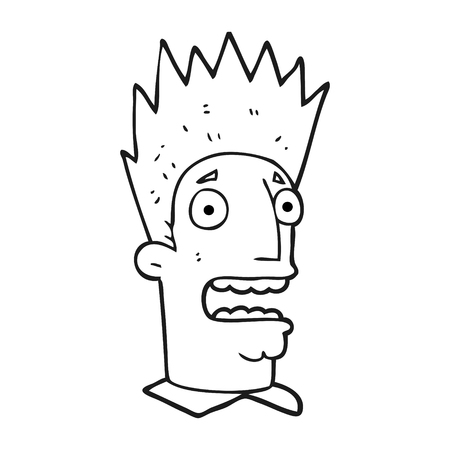 shocked man: freehand drawn black and white cartoon shocked man