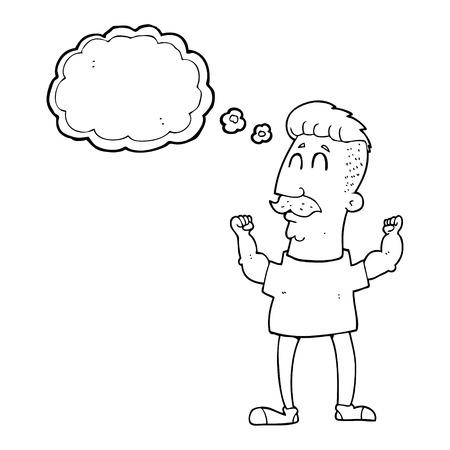 celebrating: freehand drawn thought bubble cartoon celebrating man Illustration