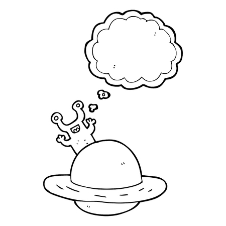 alien clipart: freehand drawn thought bubble cartoon alien planet Illustration