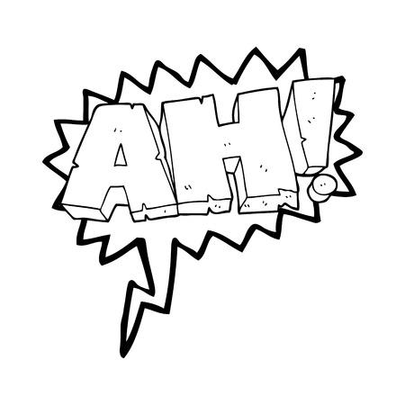 ah: freehand drawn speech bubble cartoon AH! shout