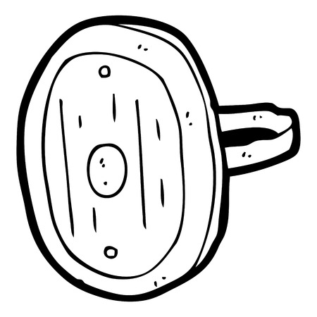 medieval shield: freehand drawn black and white cartoon medieval shield