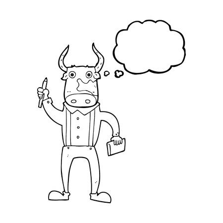 bullish: freehand drawn thought bubble cartoon bull man