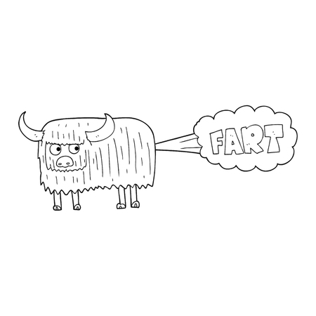 hairy: freehand drawn black and white cartoon hairy cow farting Illustration