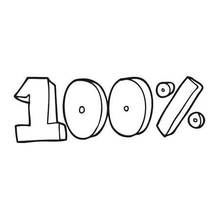 per cent: freehand drawn black and white cartoon 100 per cent symbol