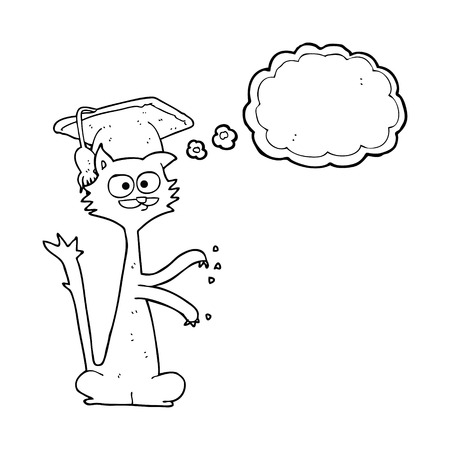 and scratching: freehand drawn thought bubble cartoon cat scratching with graduation cap