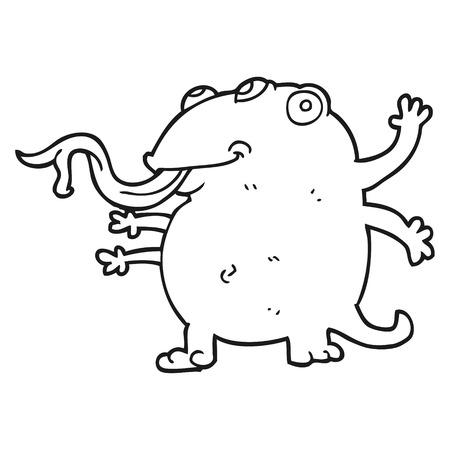 alien clipart: freehand drawn black and white cartoon alien