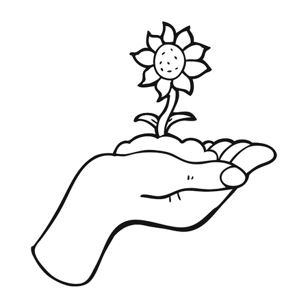 palm of hand: freehand drawn black and white cartoon flower growing in palm of hand