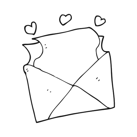 freehand drawn black and white cartoon love letter