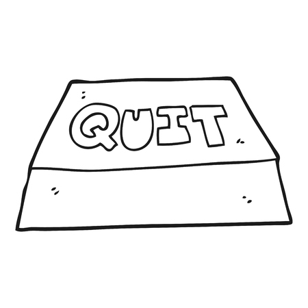 quit: freehand drawn black and white cartoon quit button