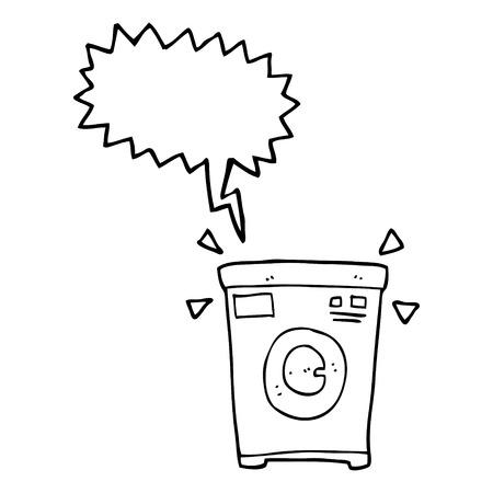cartoon washing: freehand drawn speech bubble cartoon washing machine Illustration