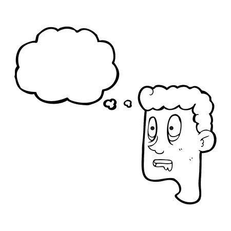 drooling: freehand drawn thought bubble cartoon staring man drooling Illustration