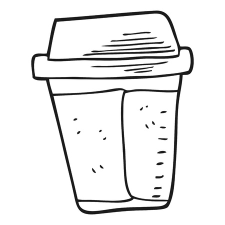 takeout: freehand drawn black and white cartoon coffee