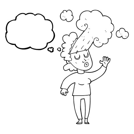 letting: freehand drawn thought bubble cartoon woman letting off steam Illustration