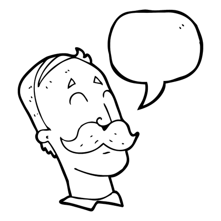 ageing: freehand drawn speech bubble cartoon ageing man with mustache