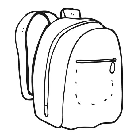 freehand drawn black and white cartoon rucksack