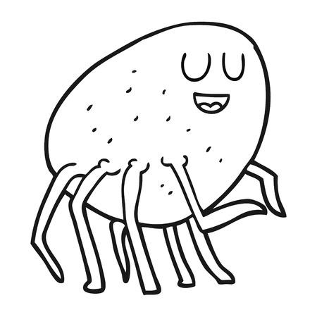 cartoon tick: freehand drawn black and white cartoon tick