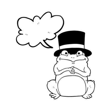 scheming: freehand drawn speech bubble cartoon frog in top hat