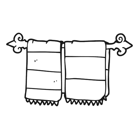 hand art: freehand drawn black and white cartoon bathroom towels