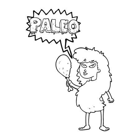 stoneage: freehand drawn speech bubble cartoon woman on paleo diet