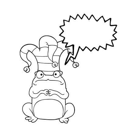 jester hat: freehand drawn speech bubble cartoon frog wearing jester hat
