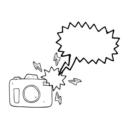 flashing: freehand drawn speech bubble cartoon flashing camera