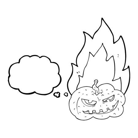 flaming: freehand drawn thought bubble cartoon flaming halloween pumpkin