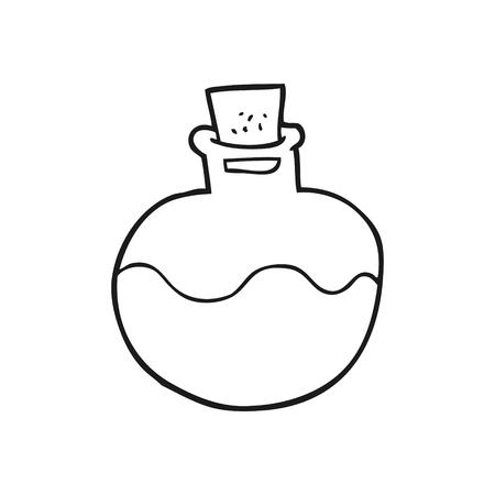 pocion: dibujado a mano alzada de dibujos animados en blanco y negro poci�n de la ciencia Vectores