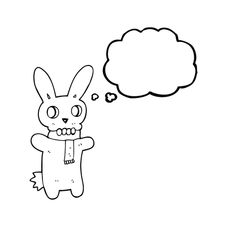 spooky skull: freehand drawn thought bubble cartoon spooky skull rabbit