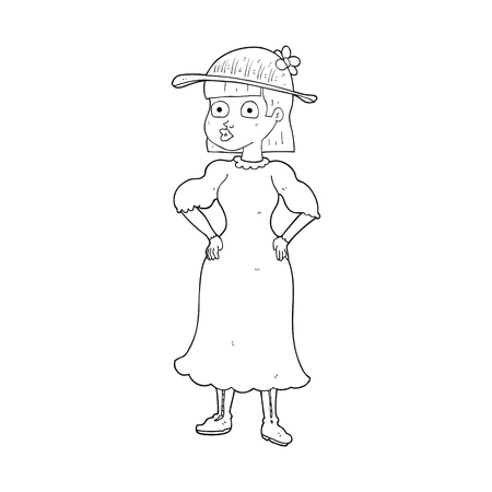 sensible: freehand drawn black and white cartoon woman in sensible dress Illustration
