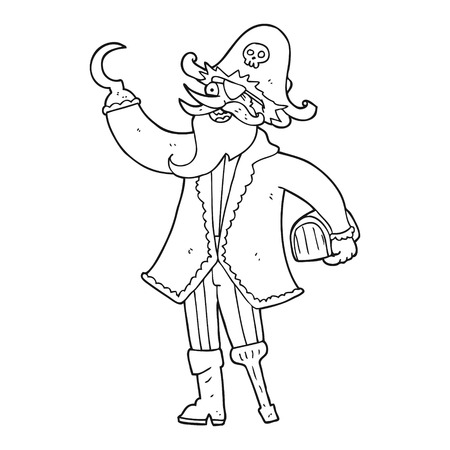 books clipart: freehand drawn black and white cartoon pirate captain