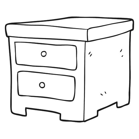 drawers: freehand drawn black and white cartoon chest of drawers