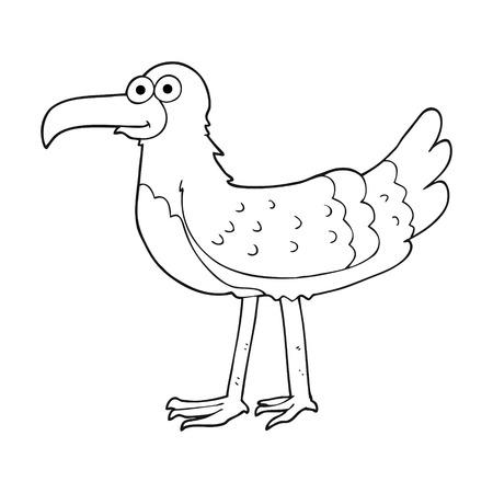 freehand drawn black and white cartoon seagull