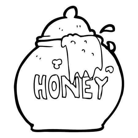 honey pot: freehand drawn black and white cartoon honey pot