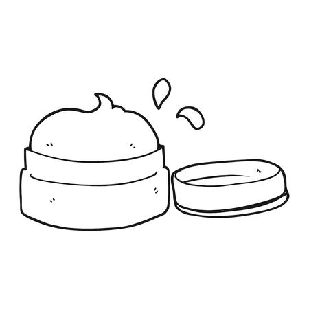 freehand drawn black and white cartoon face cream 矢量图像