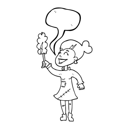 undead: freehand drawn speech bubble cartoon undead monster lady cleaning