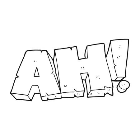 ah: freehand drawn black and white cartoon AH! shout