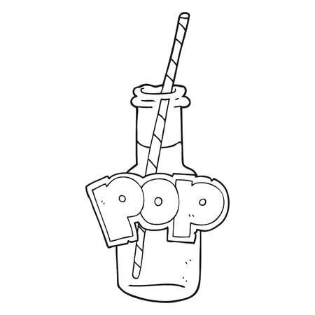 fizzy: freehand drawn black and white cartoon fizzy drink bottle