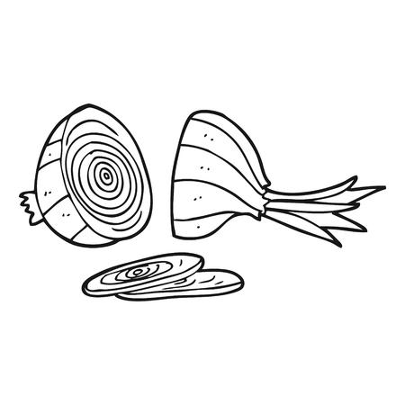 cebolla blanca: dibujado a mano alzada cebolla blanca y negro de dibujos animados en rodajas