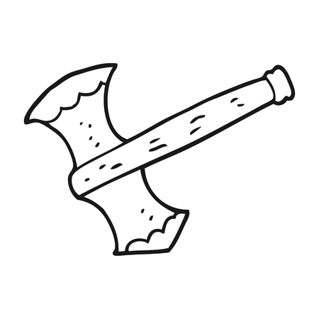 cartoon axe: freehand drawn black and white cartoon axe Illustration