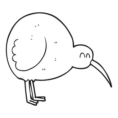 flightless: freehand drawn black and white cartoon kiwi bird Illustration