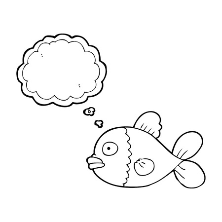 thought bubble: freehand drawn thought bubble cartoon fish Illustration