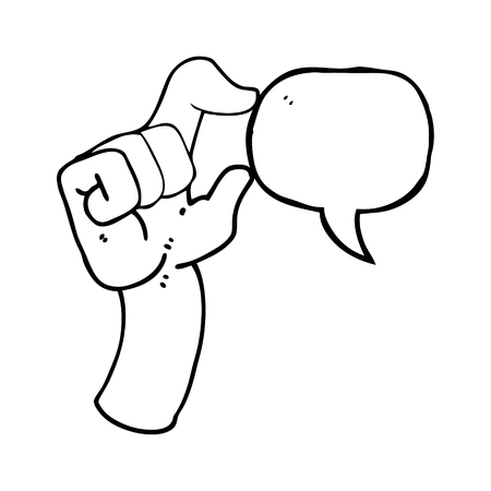 freehand drawn speech bubble cartoon hand making smallness gesture Illustration